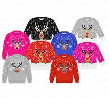 Kinder Mädchen Junge Weihnachten Retro Rudolf Santa Pinguin NEUHEIT Pulli