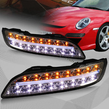 For 2004-2009 Porsche 911 997 Smoke Housing DRL LED Turn Signal Bumper Lights