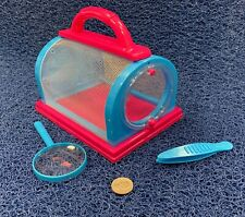 Breathable Screen BUG BOX CAGE HOUSE w/ Magnifier Tweezers PINK & BLUE