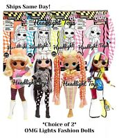 Pick 2 LOL Surprise OMG Lights Dolls Speedster Dazzle Groovy Babe Angles In Hand