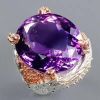 Amethyst Ring Silver 925 Sterling 19x17 mm. IF GEM Size 7 /R140741