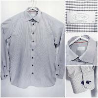 ETON Contemporary Mens 16 41 Long Sleeve Button Up White Checks