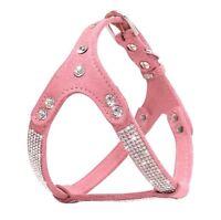 Hundegeschirr Strass Leder Hundehalsband Luxus Rosa Chihuahua Yorkie Geschirr S