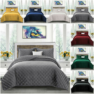 Luxury Quilted Bedspread Velvet Bed Set Throw With Pillow Shams Double King Size