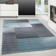 Teppich modern design teppich Rechteck Kurzflor Kariert Vintage Meliert Blau