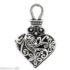 "10PCs Gift Charm Pendants Flower Pattern Hollow Heart Silver Tone 1 2/8""x 6/8"""