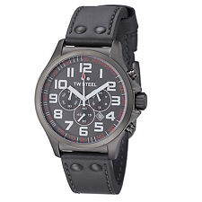 TW Steel Men's Pilot Grey Dial Leather Strap Chronograph Quartz Watch TW422