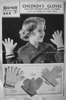 Bestway Vintage Knitting Pattern Leaflet No 868 - CHILDREN'S GLOVES - GC