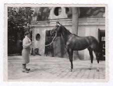 PHOTO ANCIENNE Cheval de course race pur sang Vers 1950 Écuyer Cavalier Homme