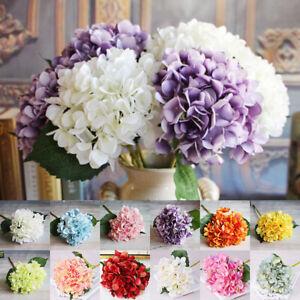 6 Heads Artificial Silk Flowers Hydrangea Flower Bridal Wedding Bouquet Decor