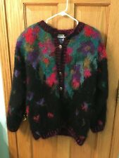 Women's Icelandic Colorful Lined Mohair and Wool Sweater Medium