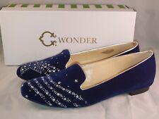 C Wonder Cassandra Women Velvet Shooting Star Loafers Size US 9.5 M Navy Gold