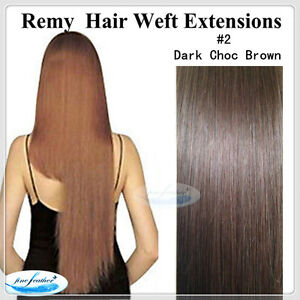 """20"""" Remy Human  Hair Extensions Weft #2 Dark Brown 100g"""