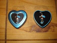 HELLO KITTY BLUE PHONE CHARM IN PRESENTATION HEART SHAPED TIN -  NEW
