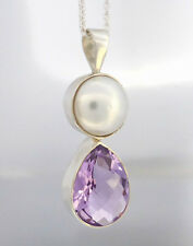 Sterling Silver 925 MABE PEARL & Fancy Tear-shape AMETHYST Pendant Necklace