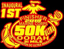 44th Marine Corps Ultra Marathon 50K D.C.Finisher Red Yellow color Decal Car
