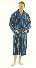 Men's Harvey James Coral Fleece Robe With Contrast Collar Dressing Gowns Navy X-large