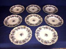 8 Antique Charles Meigh Flow Blue Opaque Porcelain Dinner Plates c1850's