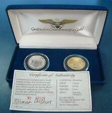 Constitution Commemorative Guild 200 Years 2 Silver Coin Set W/Box & COA