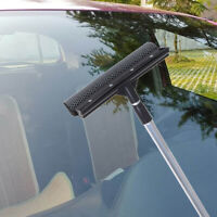 Telescopic Extendable Car Window Squeegee Cleaner Scrubber Brush Wiper Sponge GG