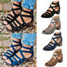 Womens Summer Gladiator Sandals Block Heel Peeptoe Ankle Strap Casual Shoes Size