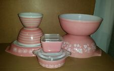 LARGE VINTAGE PINK PYREX LOT