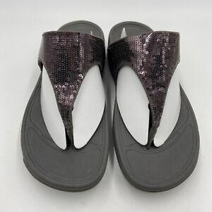 FITFLOP Sandals Women's 8 Lulu Superglitz Glitter Gray Wedge Thong Flip Flop