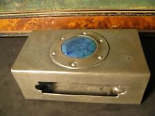 More details for large antique arts & crafts metal matchbox holder with ruskin cabochon
