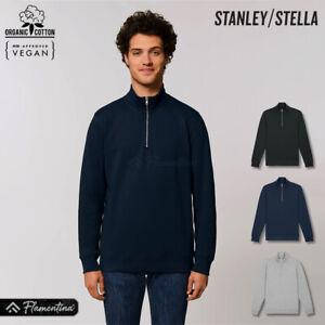 Mens Organic Cotton 1/4 Zip Sweatshirt Stanley Stella Premium Pullover Top Sweat