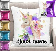 Personalised Unicorn Sequin Cushion Cover Mermaid Pillow 6 Colours