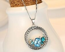 Ocean Wave Multi stone Circle Pendant Necklace Swarovski Crystal Women Jewelry
