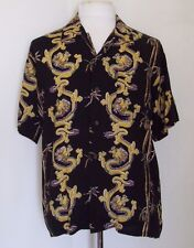 Pineapple Connection Mens Casual Shirt Medium Dragons Bamboo Rayon Button Front