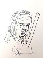 Michonne by Charlie Adlard - TWD Walking Dead - Signed Sketch / Original Art