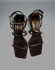 NWOT Nine West N-Gabelle4 Metallic Bronze Leather/AB Sequin Gladiator Sandals 7M
