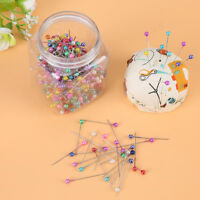 500Pcs DIY Beads Needles Quilting Head Pins w/ Fabric Covered Pin Cushion Bottle