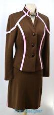 KAY UNGER skirt suit straight Blazer ponte knit jacket career mod 2PC M L 12 VTG