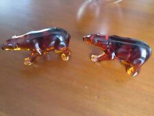 Two! Very Rare Indiana Glass Amber Polar Bear Figurine