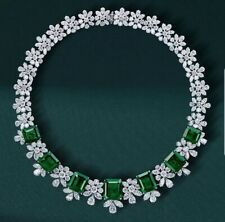 925 Sterling Silver Green Emerald White Pear Marquise Highend Handmade Necklace