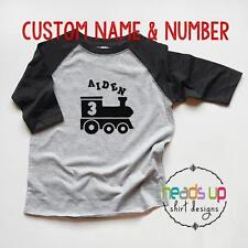 Train Birthday Shirt Custom Name Toddler Boy/Girl 1/2/3/4 One Two Three Four Tee