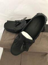 NIB $860 Bottega Veneta Mens Leather Jungle Calf Shoes Black 8 US (41 Eu)