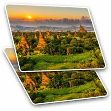 2 x Rectangle Stickers 10 cm - Temples Bagan Myanmar Burma #3528