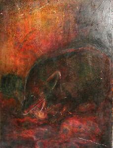 1975 Surrealist pastel painting fantasy creature portrait signed