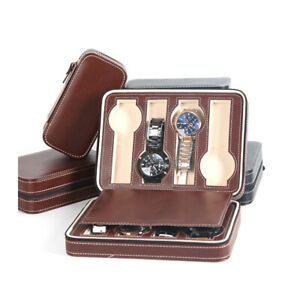 8 Slots Portable Watch Storage Box Travel Watch Case Brown Pouch Zipper Leather