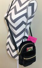 Betsey Johnson Mini Backpack/Crossbody Quilted Hearts Black Bag Purse NWT $88.