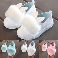 Toddler Baby Children Fur Sneaker Girl Pom pom Bunny Anti-slip Single Shoes AU