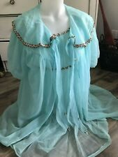 Vintage Canadian Maid Peignoir Blue Nightgown & Robe Rose Ribbon Womens Size S/M