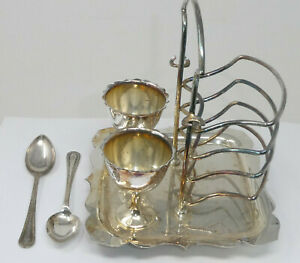 Vintage Silver Plated Toast Rack and Egg Cup Combination Holder