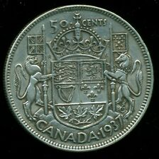 1937 Canada, King George VI, Silver Fifty Cent Piece   F127