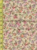 """1/2 yard 100% Cotton quilt fabric 18""""x 44"""" Pale Yellow floral calico print"""