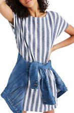 MADEWELL 158203 Women's Stripe Play Button Back Dress Transatlantic Blue Size XS